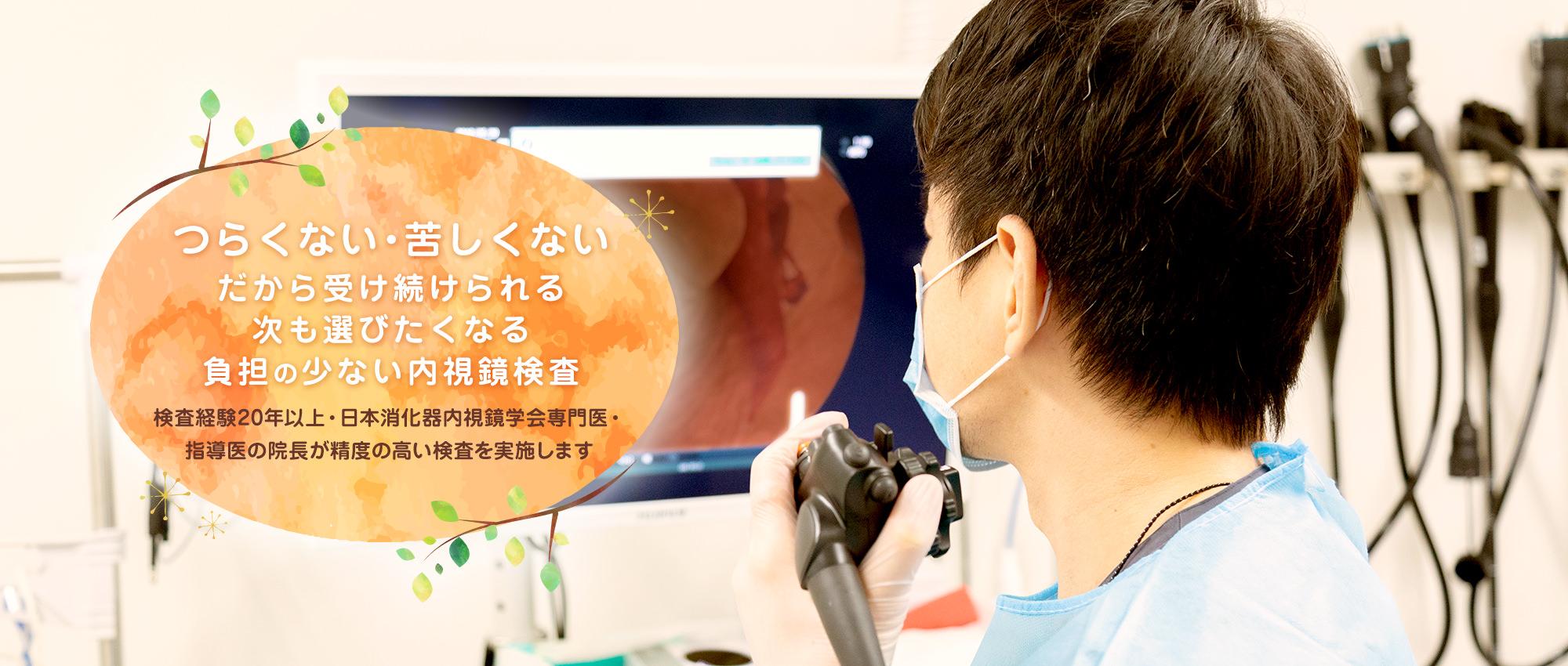 つらくない・苦しくない・だから受け続けられる 次も選びたくなる負担の少ない内視鏡検査 検査経験20年以上・日本消化器内視鏡学会専門医・指導医の院長が精度の高い検査を実施します